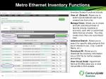 metro ethernet inventory functions