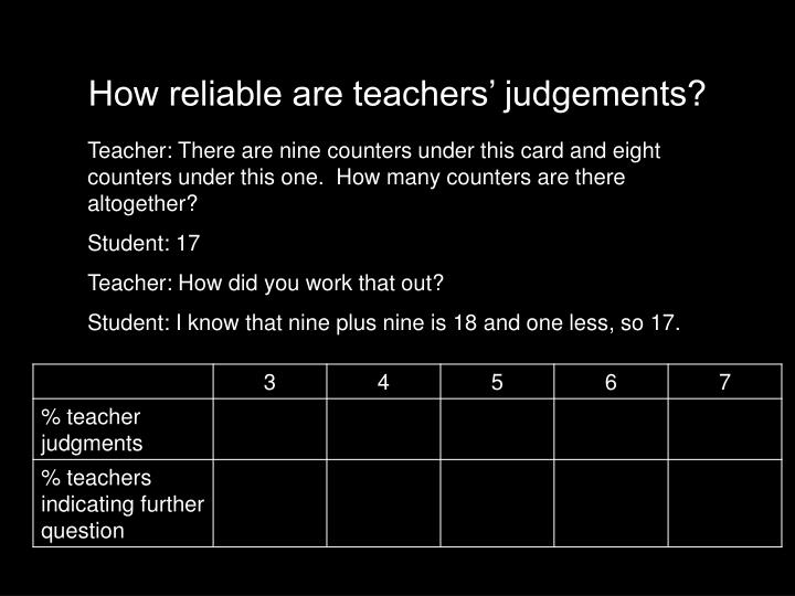 How reliable are teachers' judgements?