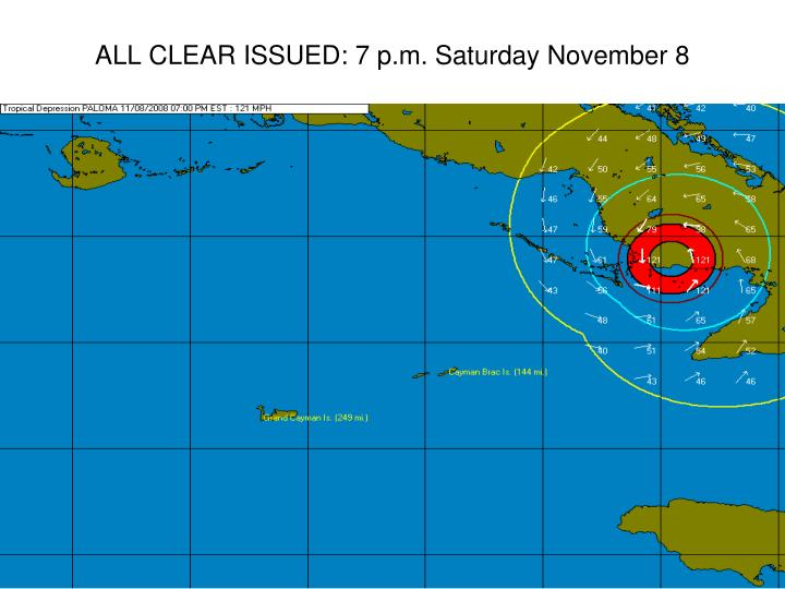 ALL CLEAR ISSUED: 7 p.m. Saturday November 8