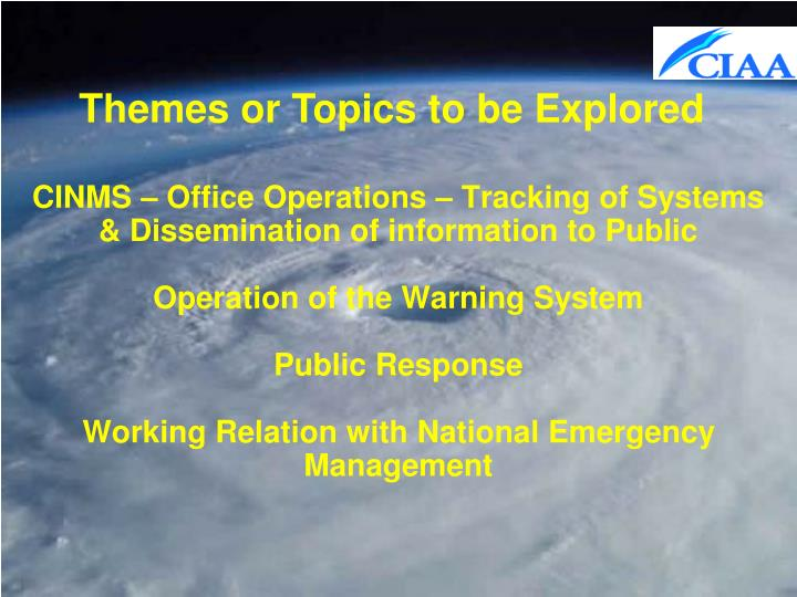 Themes or Topics to be Explored