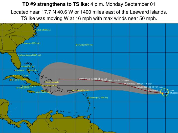 TD #9 strengthens to TS Ike: