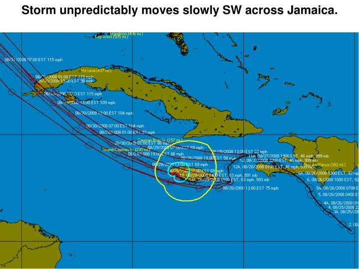 Storm unpredictably moves slowly SW across Jamaica.