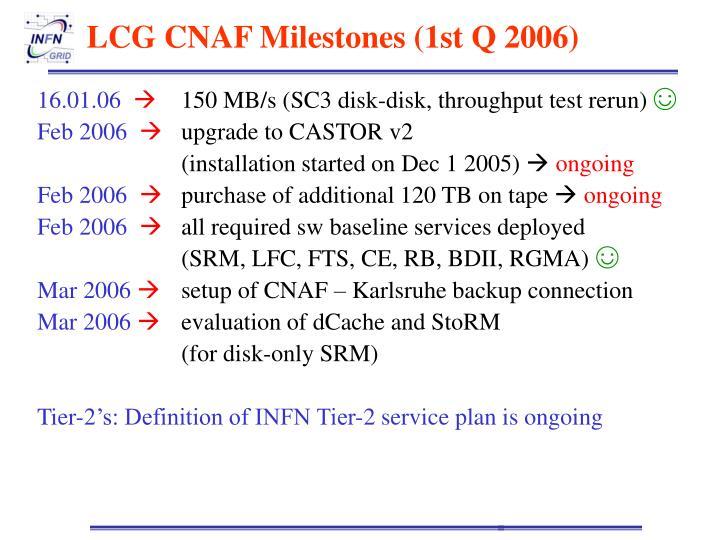 LCG CNAF Milestones (1st Q 2006)