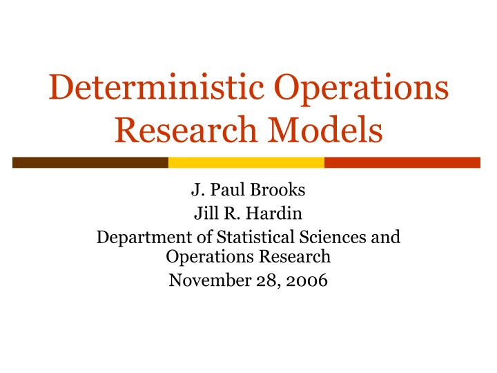 deterministic operations research models n.