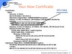 your new certificate