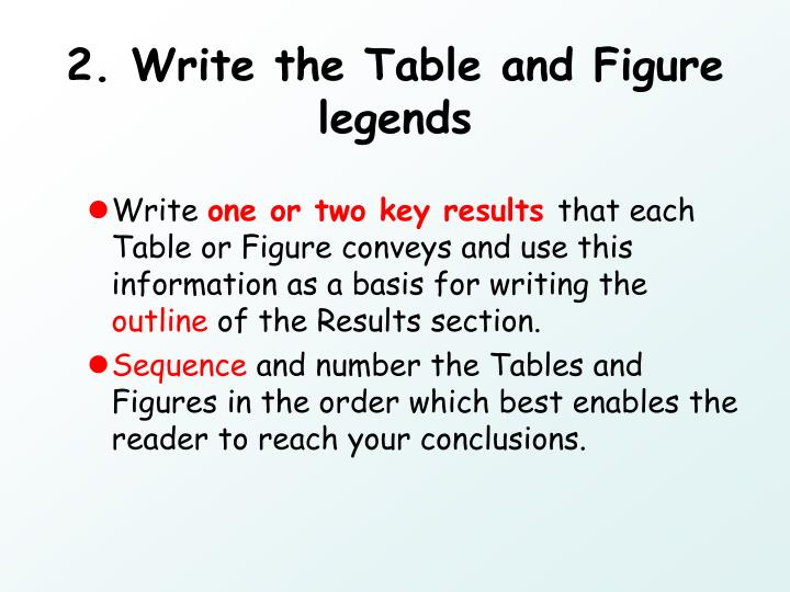 2. Write the Table and Figure legends