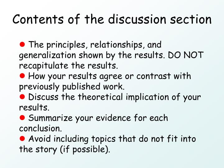 Contents of the discussion section