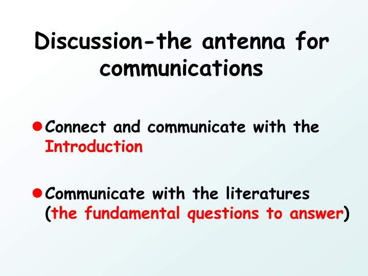 Discussion-the antenna for communications