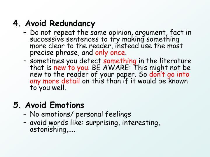 4. Avoid Redundancy