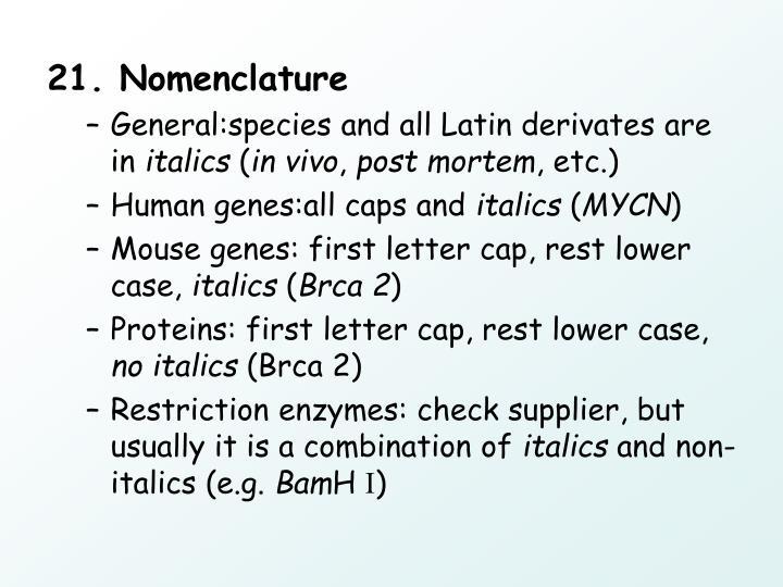 21. Nomenclature