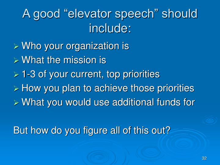 "A good ""elevator speech"" should include:"