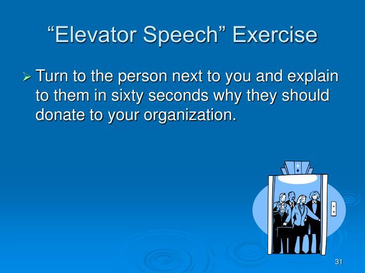 """""""Elevator Speech"""" Exercise"""