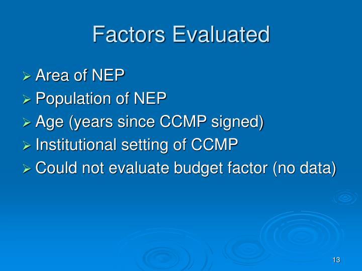 Factors Evaluated