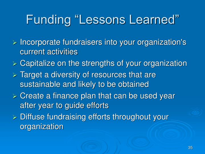 """Funding """"Lessons Learned"""""""