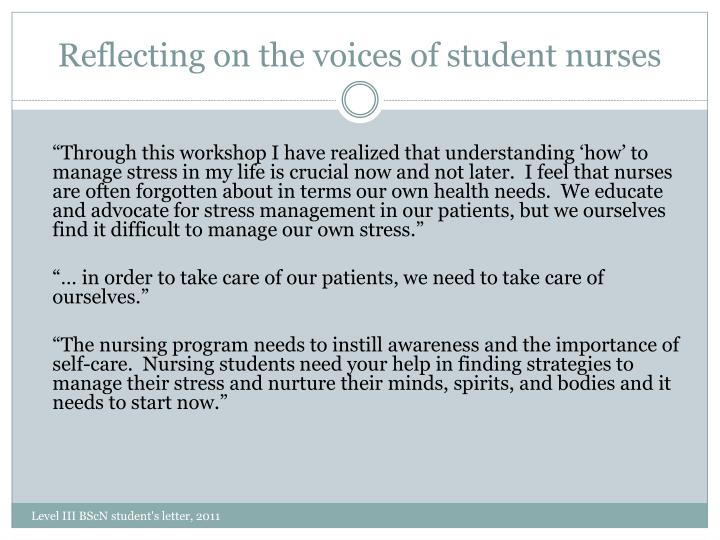 Reflecting on the voices of student nurses