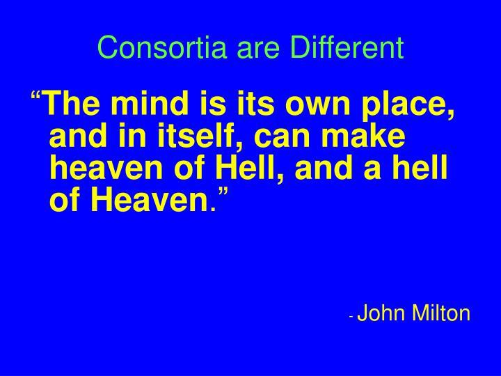 Consortia are Different