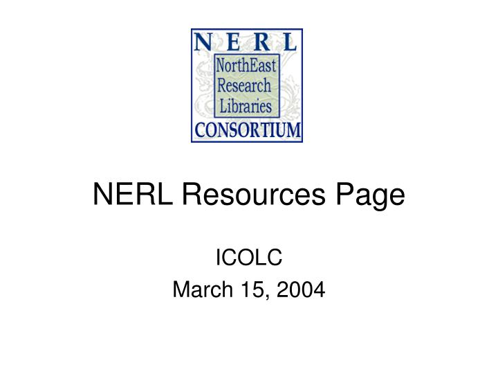 NERL Resources Page