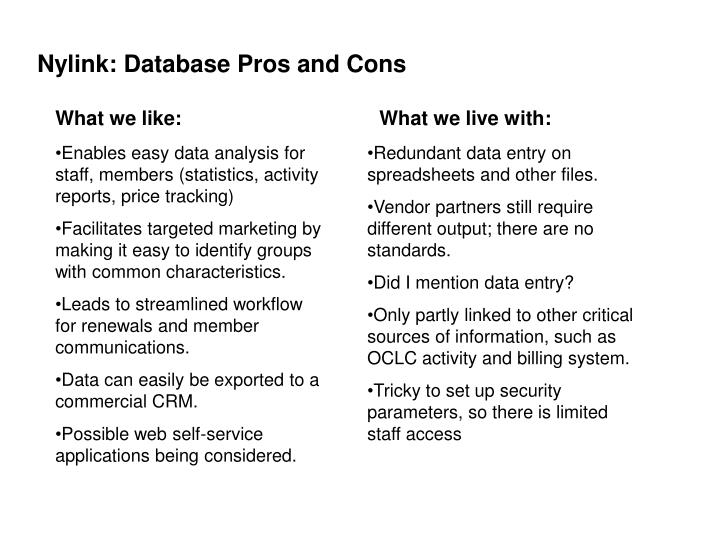 Nylink: Database Pros and Cons