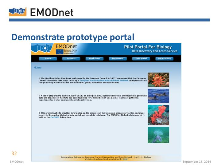 Demonstrate prototype portal