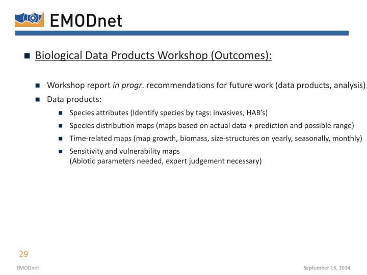 Biological Data Products Workshop (Outcomes):