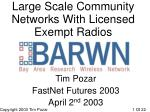 large scale community networks with licensed exempt radios