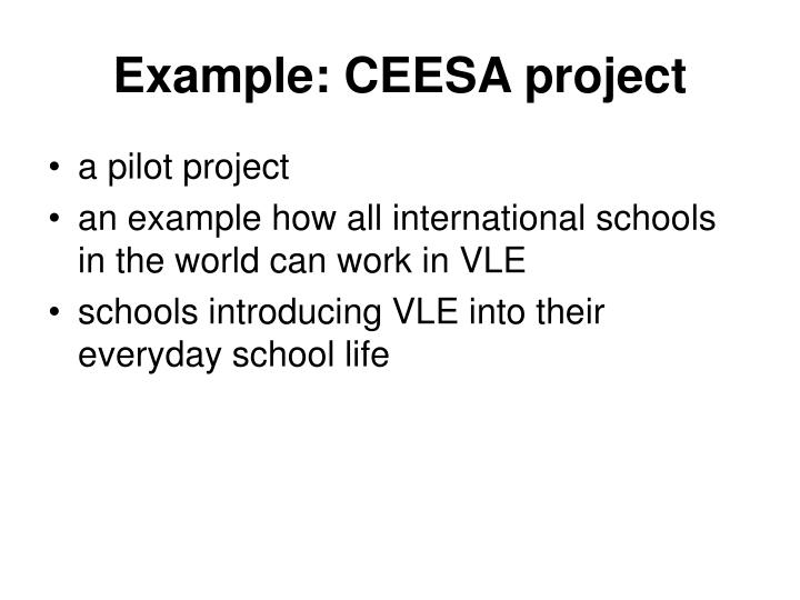 Example: CEESA project