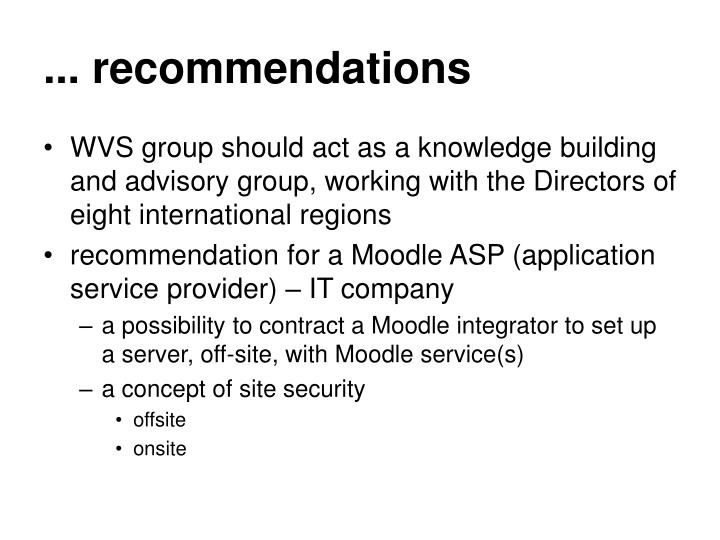 ... recommendations