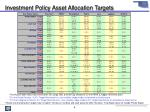 investment policy asset allocation targets