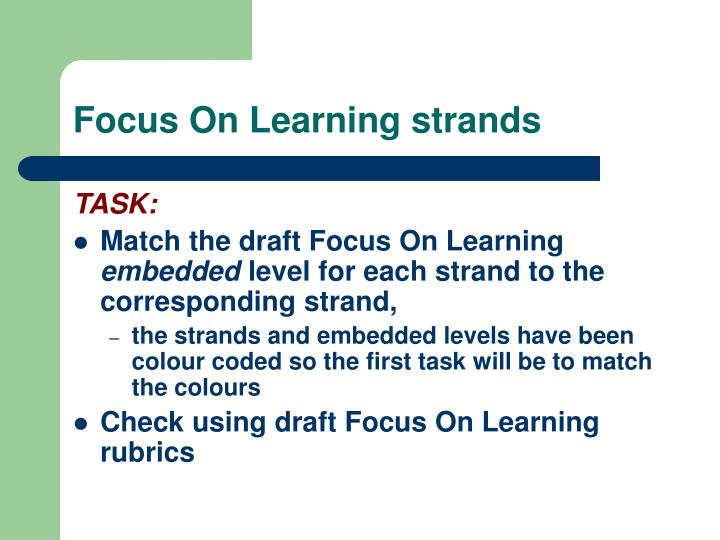 Focus On Learning strands