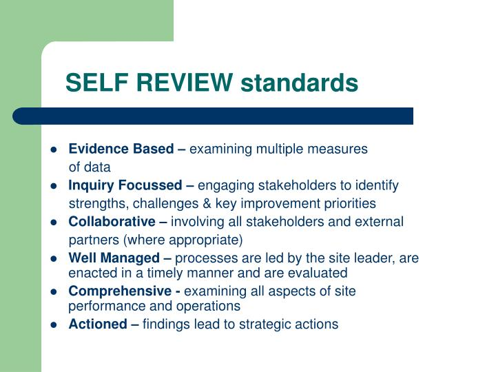 SELF REVIEW standards