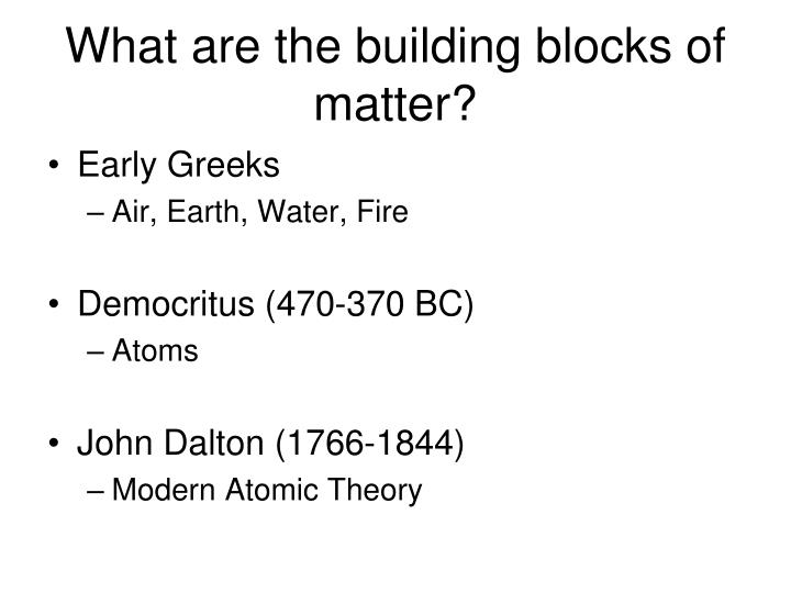 What are the building blocks of matter