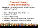 focus on literacy talking and listening