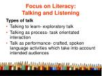 focus on literacy talking and listening1