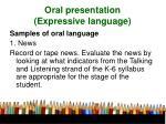 oral presentation expressive language