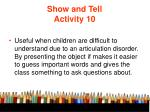 show and tell activity 10