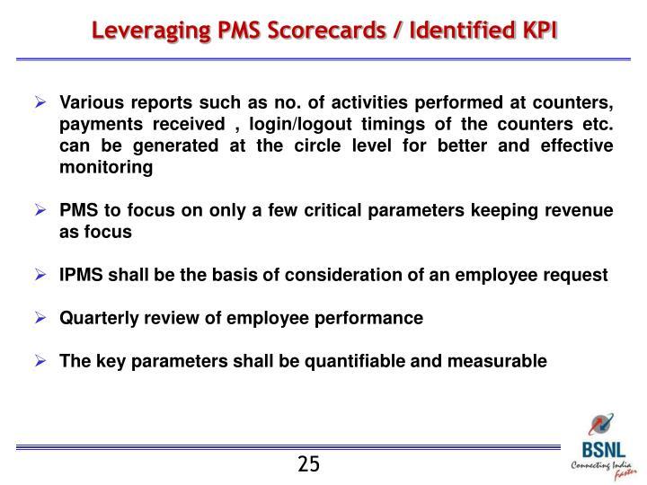 Leveraging PMS Scorecards / Identified KPI