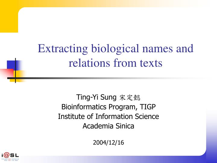 extracting biological names and relations from texts n.