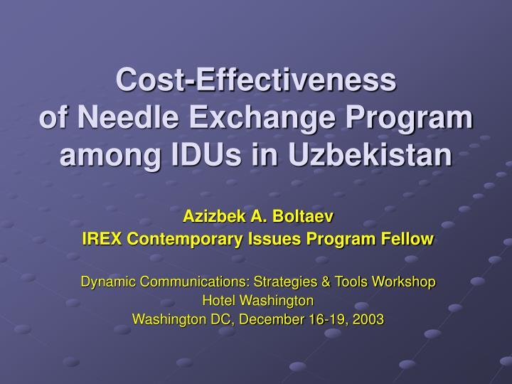 evectiveness of needle exchange programs in the united states Needle exchanges according to the there are approximately 24 million injection drug users in the united states history of needle exchange programs.