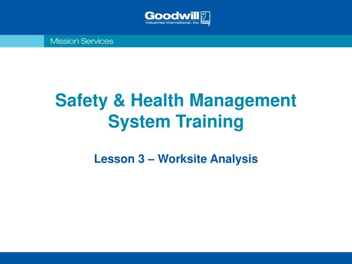 safety health management system training n.