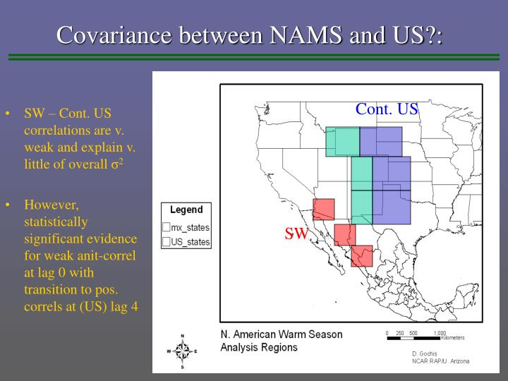 Covariance between NAMS and US?: