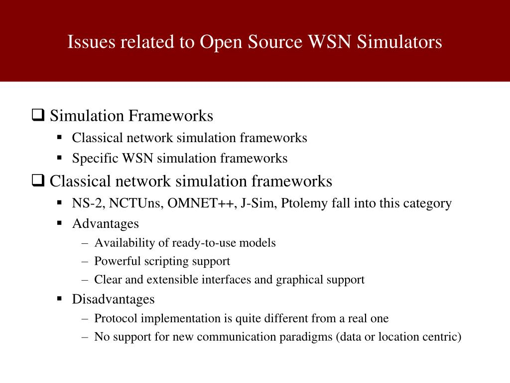 PPT - Wireless Sensor Networks (WSN): Open Source Tools