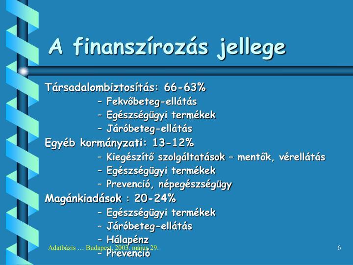 A finanszírozás jellege