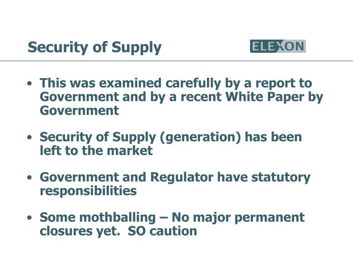 Security of Supply