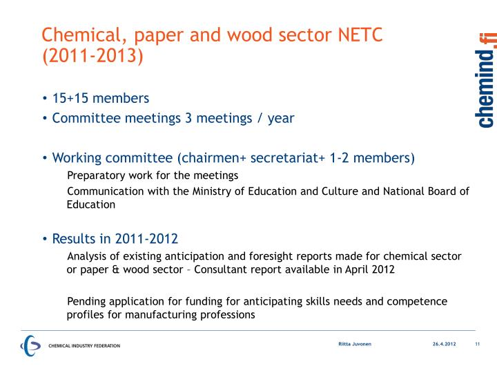 Chemical, paper and wood sector NETC