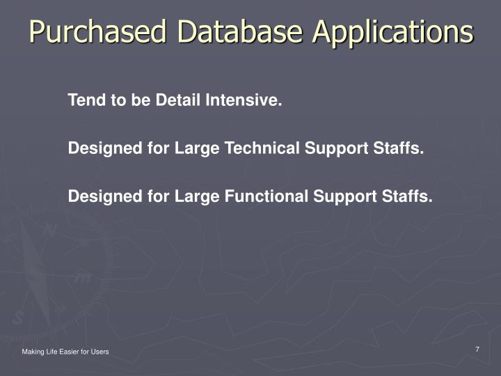 Purchased Database Applications