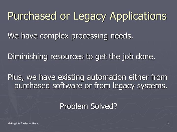 Purchased or legacy applications