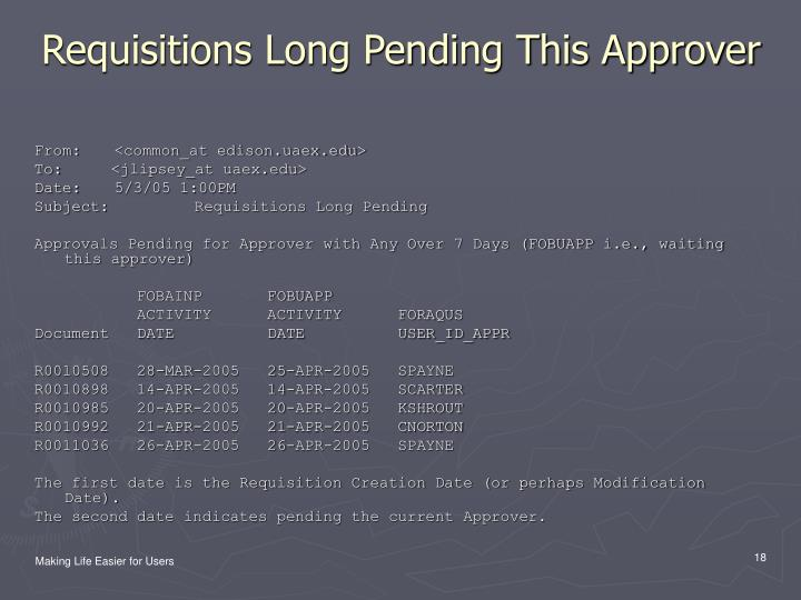 Requisitions Long Pending This Approver