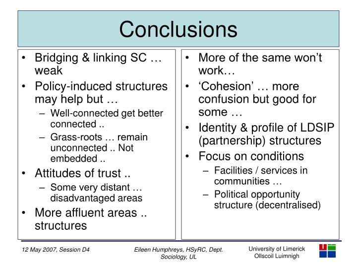 Bridging & linking SC … weak