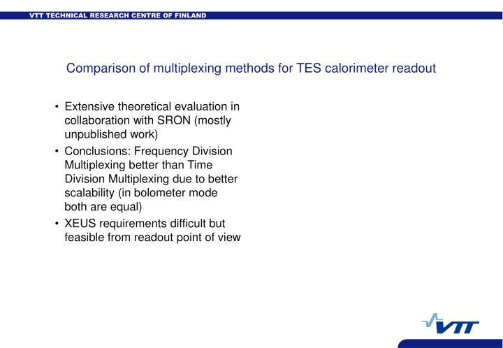 Comparison of multiplexing methods for TES calorimeter readout