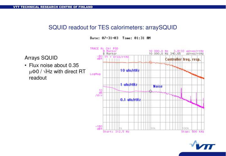 SQUID readout for TES calorimeters: arraySQUID